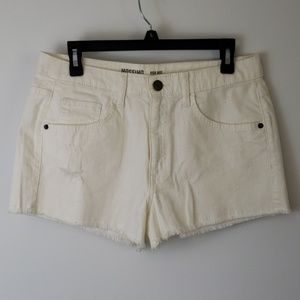 Mossimo : Distressed White Denim Shorts